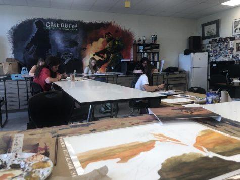 Powell High School students utilize Panther Time to work on school work in the art room.