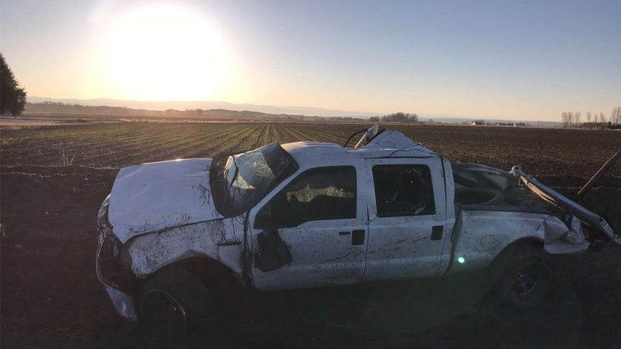 Mikey Timmons' truck lies in ruin within a field just outside Garland April 27.
