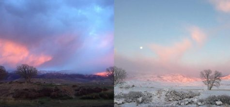 Two pictures of the Clark skyline during different seasons, side by side.