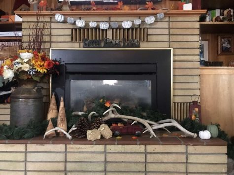 The Fagan familys hearth is decorated for the fall.