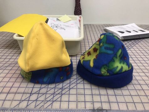 Junior Hannah Hincks created these hats in Mrs.Bennett's Apparels and Textiles class her sophomore year. Students no longer have the opportunity to take this class for the 2021-2022 school year.