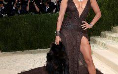 Jenifer Lopez wears her faux-fur dress on the steps of The Met Gala.